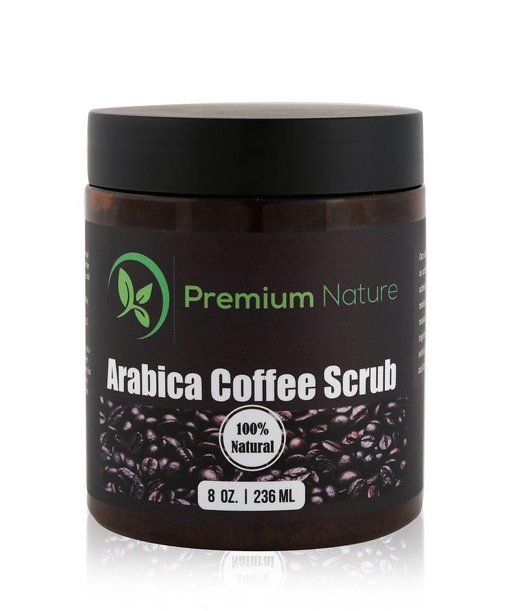 100% Natural Arabica Coffee Body Scrub with Sea Salt, Olive Oil & Shea Butter, Acne Treatment, Exfoliate, Moisturize, Tone & Reduce Cellulite, By Premium Nature