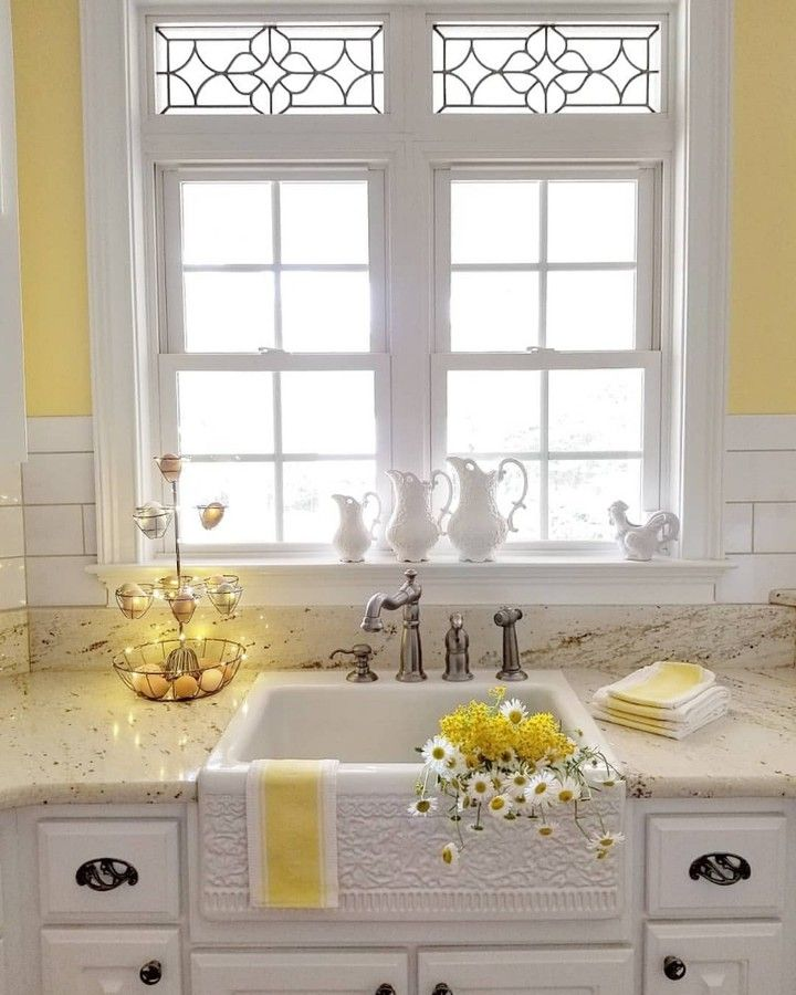 Farmhouse Is My Style On Instagram Stamped Farmhouse Apron Sink Lemon Yellow Walls Beau Yellow Kitchen Walls Yellow Kitchen Decor Kitchen Decor Inspiration