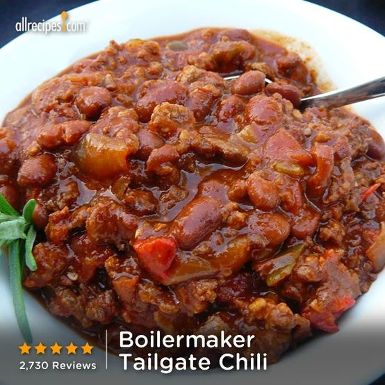 """""""This Chili recipe has now won us two Chili cookoff blue ribbons! It is still our only Chili recipe."""" —MrsFritz   Repin Boilermaker Tailgate Chili."""