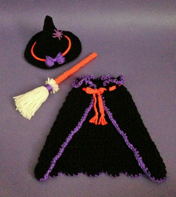 Newborn Witch Costume with Hat, Cape, and Broom. Maybe I can modify it to fit on the dog!