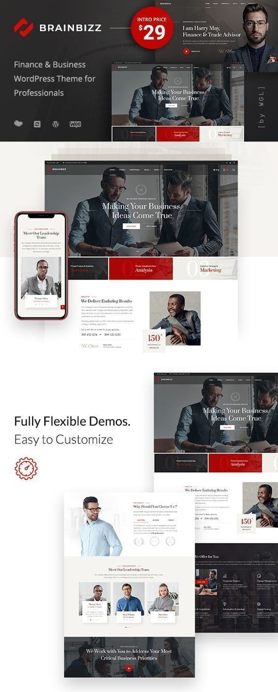 BrainBizz – Finance & Business WordPress Theme BrainBizz – Finance & Business WordPress Theme. A modern and responsive design business website template with flexible demos and easy customization. Ideal for business, corporate, finance, agencies, law, and more! SEO optimized web design.