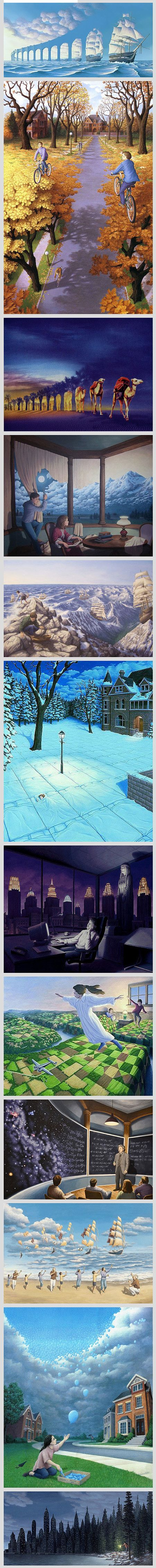 Magic & realism – the two don't really match, do they? But Rob Gonsalves, a Canadian painter of magic realism, demonstrates great skills in merging the two different worlds in his unique and surrealistic optical illusion artworks. Inspired by such great artists as Dali, Tanguy, Magritte and Escher, Gonsalves developed his own unique style by combining his architectural knowledge with the love for painting.