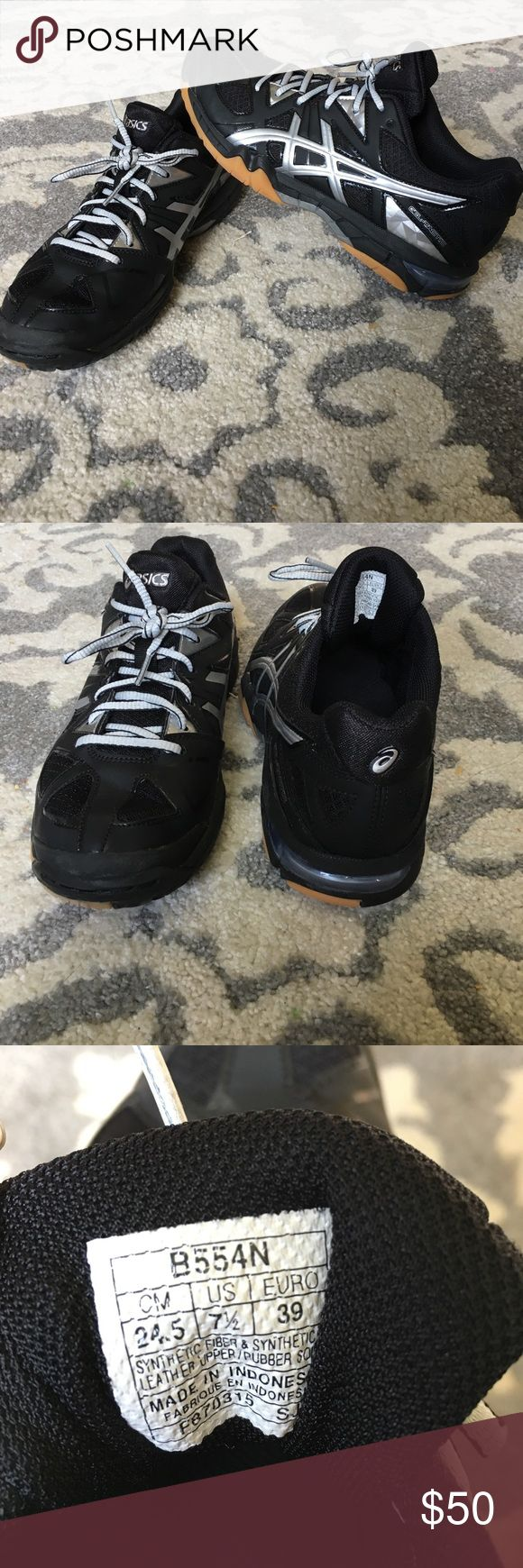 Women's Asics Gel-Tactic Volleyball Court Shoes Brand new black and silver volleyball court shoes. Worn  only once. Asics Shoes Sneakers