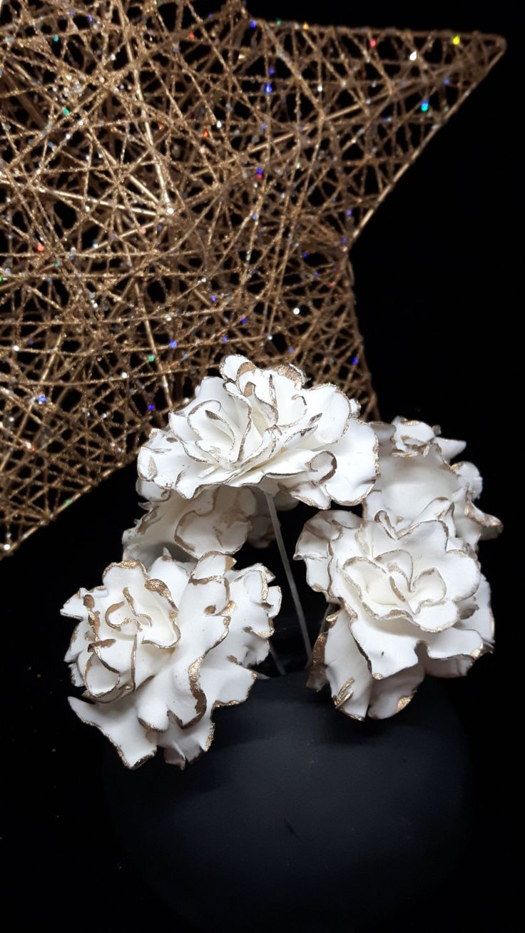 Holiday White/Gold Mini Carnation Gumpaste Flower Cake Topper Decoration by GateauPrestige on Etsy