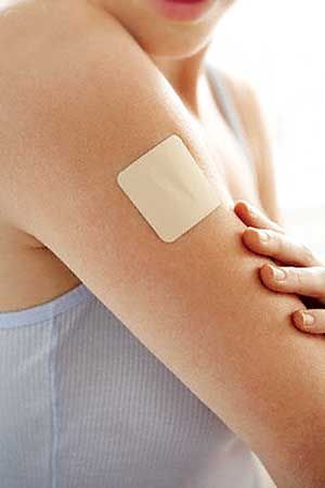 Nicotine patches contain nicotine and do not require a prescription. Nicotine is absorbed through the skin. It can be worn all day to provide a continuous stream of nicotine to relieve cravings.