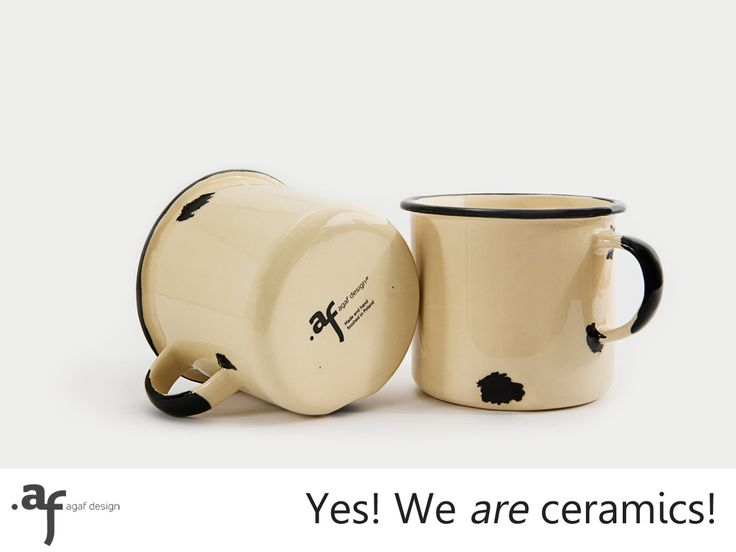 2 x The Not Enamel Handmade Ceramic Mug Cream by AgafDesign