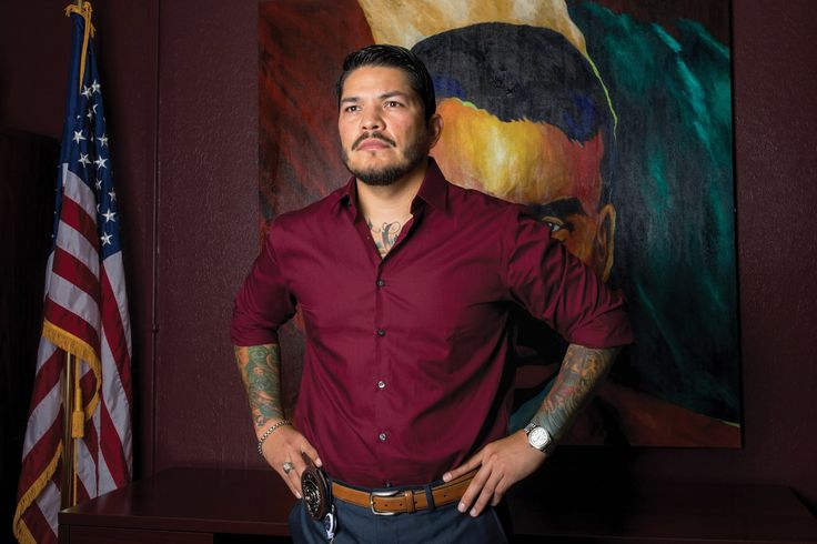 """Mark Gonzalez is listed as a gang member in police databases, has """"not guilty"""" tattooed on his chest and is hoping to bring reform to Corpus Christi."""