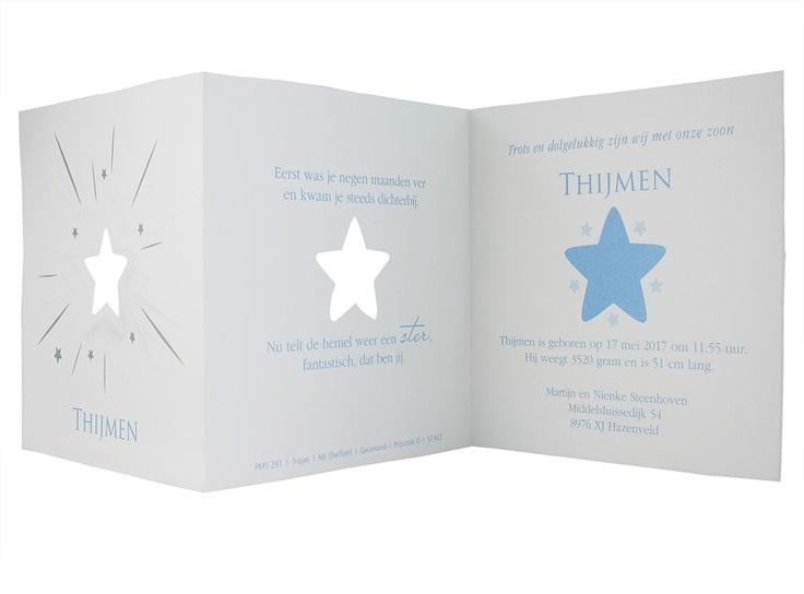 97.422 Oud-Hollands, blauw, sterretje, barok, preeg - Family Cards - De allerliefste geboortekaartjes