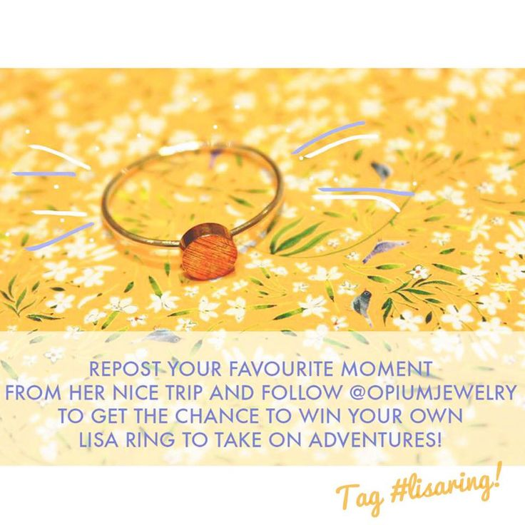 Take Lisa Ring with you! To win your own Lisa Ring, repost a favourite moment from Nice of Lisa & follow @opiumjewelry!  Don't forget to tag #lisaring! #giveaway #instagood #promo #win #instawin #contest #tävling #photocontest #follow #followtowin #instagram