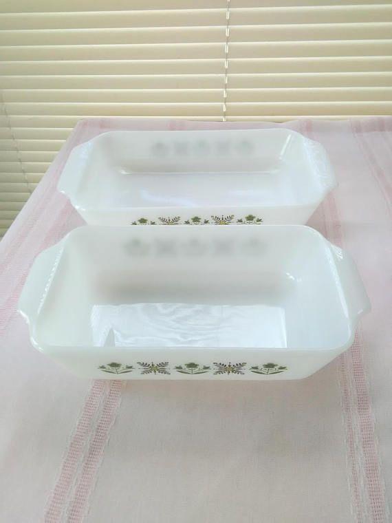Vintage 2 Piece FIRE KING Meadow Green Pattern Casserole