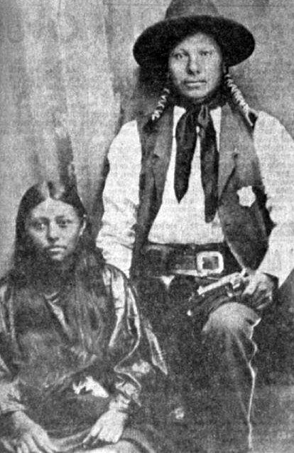Toi-tah-ner-ew, Chickasaw Indian Policeman, 1890, Duncan, USA, unknown photographer. The girl was I-see-komah but it is not known whether she was is wife, sister, sweetheart or friend. (Photoshopped)