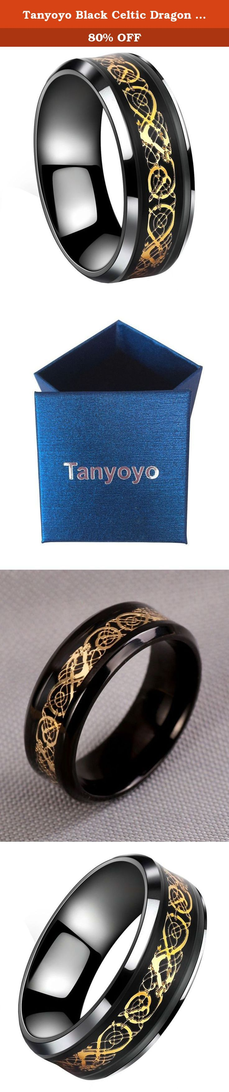 Tanyoyo Black Celtic Dragon Titanium steel Carbide Ring Gold Carbon Fibre Wedding Band Jewelry Size 5-14 (10). Tanyoyo Black Celtic Dragon Titanium steel Carbide Ring Gold Carbon Fibre Wedding Band Jewelry TANYOYO JEWELRY are mainly engaged in all kinds of stainless steel, titanium steel, Tungsten steel jewelry. Including earrings, necklaces, pendants, bracelets and bangles and so on. Our products are fashion, high-quality and affordable. We are committed to provide you with the latest…