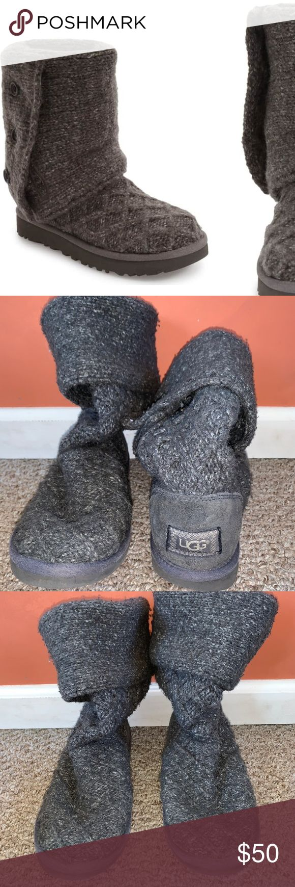 UGG Boots Gray Lattice Cardy Boot, lightly worn, excellent