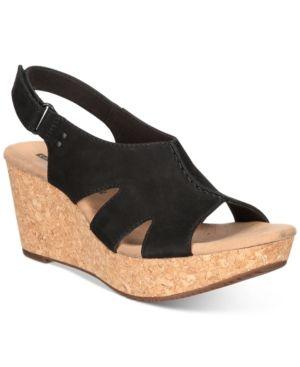 a9ba1e62d11a Clarks Collection Women s Annadel Bari Wedge Sandals - Black 5.5M ...