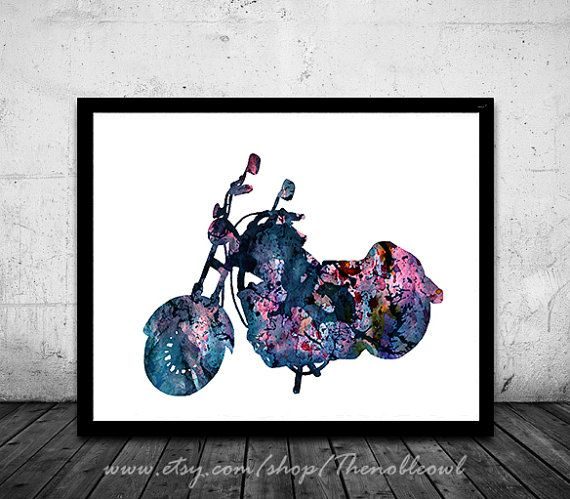 Motorcycle print Harley Davidson Poster sport art by Thenobleowl