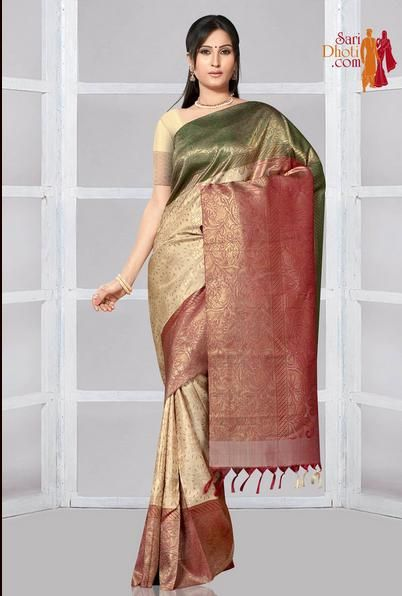 "Offwhite color body with Jacquard design with pure Zari and red buttis. Ganga(Green) and Jamuna(Red) color 8 "" wide border wovn with Zari. Red color pallu woven with Zari. Buy #Bridalsaree Online with discount prices http://www.saridhoti.com/Women/Saree/Bridal-Sarees"