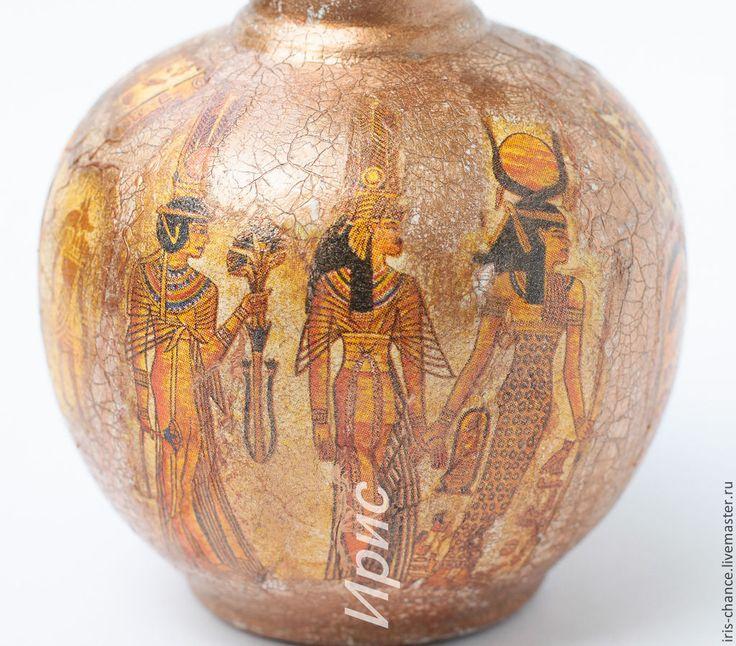 Купить Ваза Нефертити декупаж. Ваза декупаж. Керамическая ваза. Египет. - ваза с узким горлом