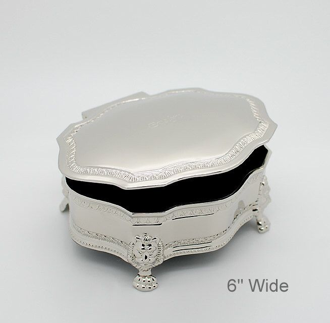 "Personalized victorian jewelry box - Engraved jewelry box  - 6"" Large Silver jewelry box Flower girl gift by Newfavors on Etsy https://www.etsy.com/listing/195928621/personalized-victorian-jewelry-box"