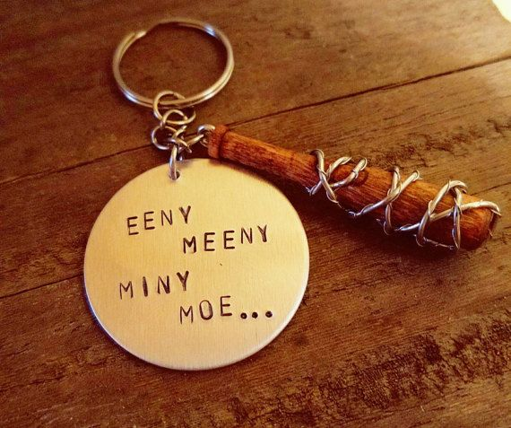 The Walking Dead Keychain - Lucille Bat with Hand Stamped Quote - Eeny Meeny Miny Moe - Negan