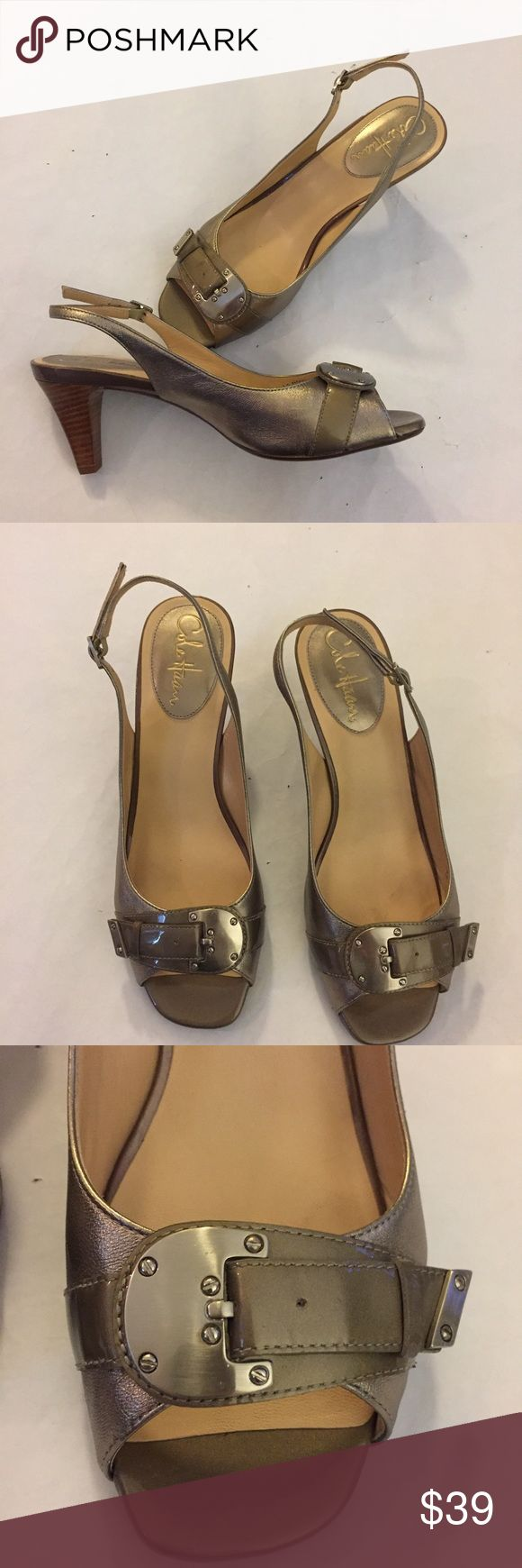 "NEW Cole Haan Nike Air Leather Pumps Heel Buckle NEW Cole Haan Nike Air Silver Leather Pumps Heel Silver Buckle Size 8 B BRAND NEW, NEVER WORN, designer shoes! Silver and Cole Haan brand with super cute buckle! They're adorable! Very comfortable. Size 8, B width.  Heel 2.5"".    /382/ Cole Haan Shoes Heels"