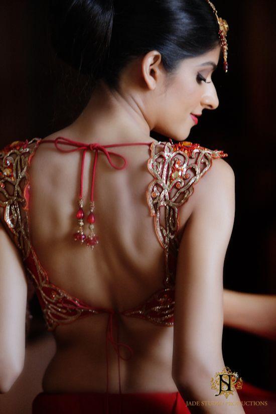 Orange Lace Blouse Back Design