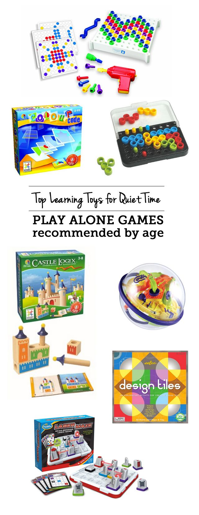 Top learning toys for quiet time: play alone games - love that my kids are building brainpower with these while I get stuff done or have one on one time with a sibling.