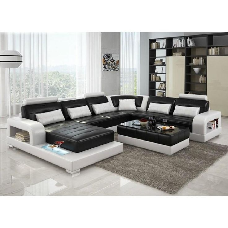 Divani Casa 6145 Modern Black and White Bonded Leather Sectional Sofa  sc 1 st  Pinterest : black white sectional - Sectionals, Sofas & Couches