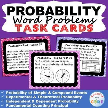 probability word problems task cards 40 cards probability word problems task cards topics. Black Bedroom Furniture Sets. Home Design Ideas
