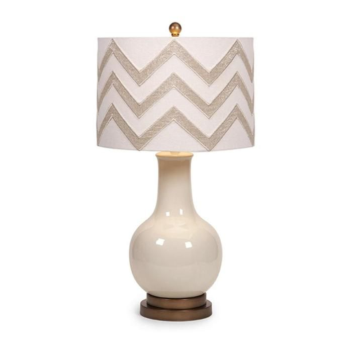 Hardy chevron shade table lamp in white nebraska furniture mart