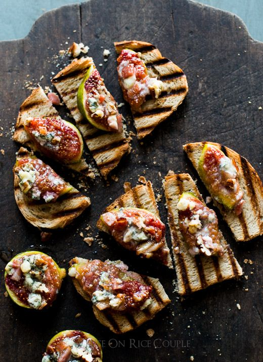 Baked Fig Recipe with Bacon, Cheese, Pecans on Grilled Bread at WhiteOnRiceCouple.com