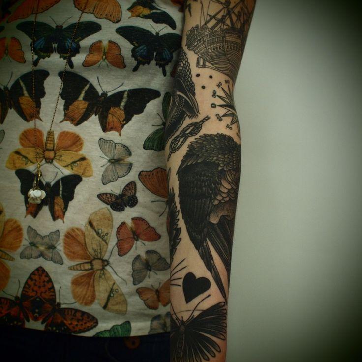 I love he detailing: Tattoo Sleeve, Nautical Tattoo, Guys Le, Butterflies Tattoo, Arm Sleeve Tattoo, Coolest Tattoo, Arm Tattoo, Tattoo Ink, Le Tatooer