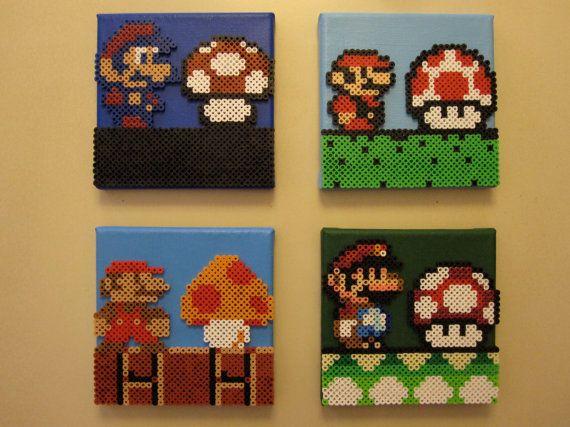 Mario & Mushroom Evolution set of 4 Perler Beads door NestalgicBits, $140.00