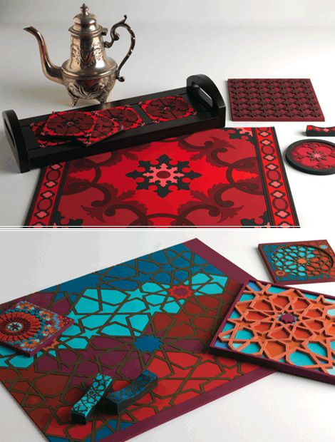 Images d'orient makes the most beautiful coasters and place mats. They are die-cut rubber and look like intricate tiles.