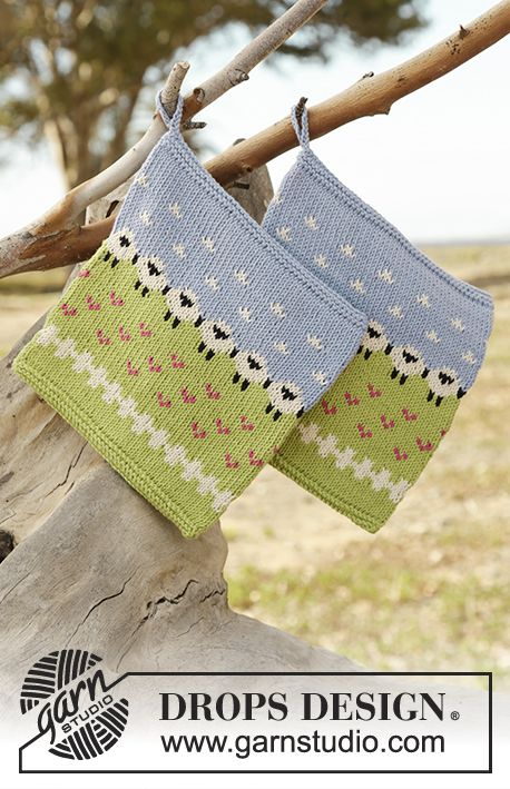 Summer Grazing Potholder with sheep pattern by DROPS Design Free Knitting Pattern