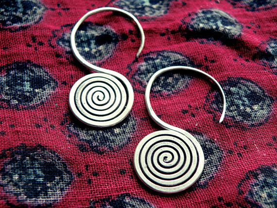 Greek jewelry spiral earrings silver earrings by CarmelaRosa