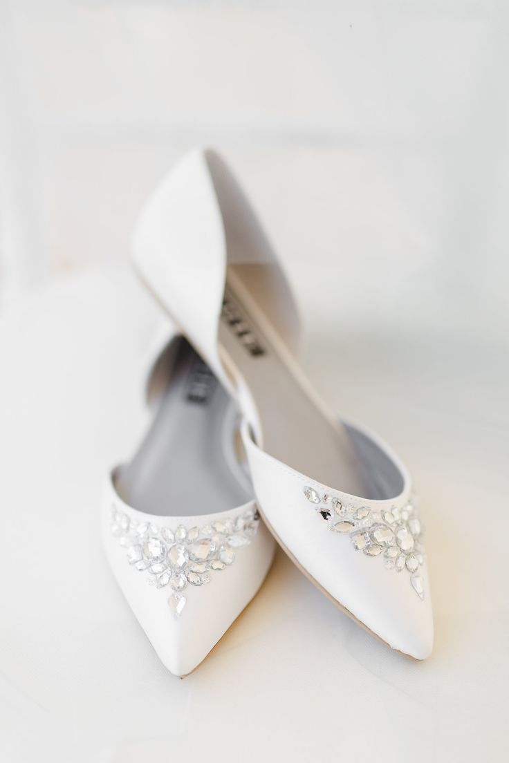 white flat wedding shoes with sparkle jewels
