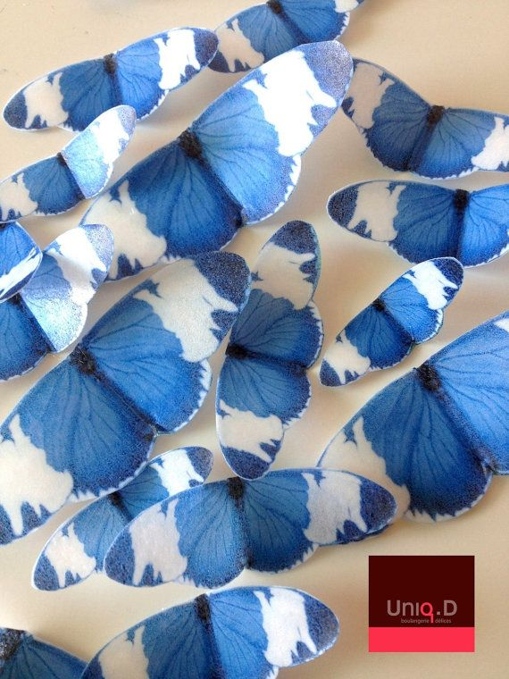 50 royal blue very large PRECUT edible butterflies ready to use - royal blue wedding cake toppers by Uniqdots on Etsy
