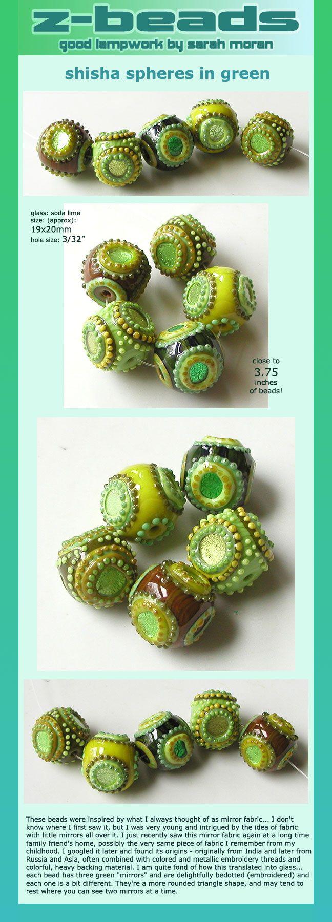 shisha spheres in green by zbeads sarah moran