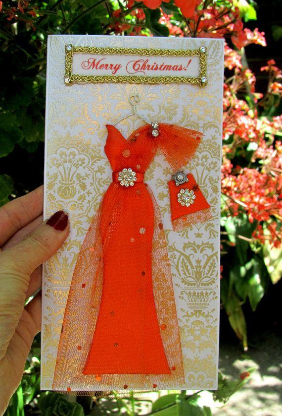 CUSTOM ORDER for wrrywrt1 /Orange Dress Card / DL Size by BSylvar, $20.00