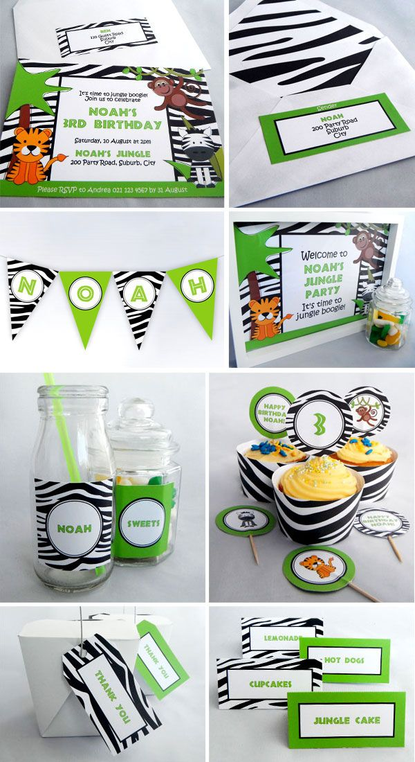 Jungle Birthday Party - Printables available as an invite pack or complete party pack. Visit www.missshinedesign.co.nz for more information.
