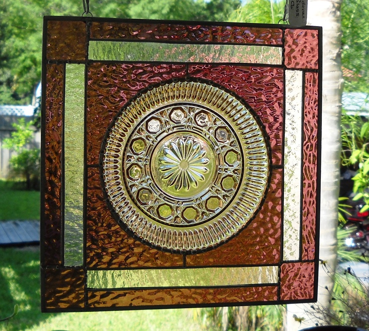 Pink Vintage Stained Glass Plate Panel Depression Glass Amethyst Window Treatment. $49.95, via Etsy.