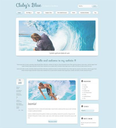 Clubys Blue - Free Joomla 3.0 Template for Travel Website