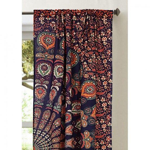 Indian Tree of life Sky Blue Print Boho Door Window Curtain Cotton Bohemian Set