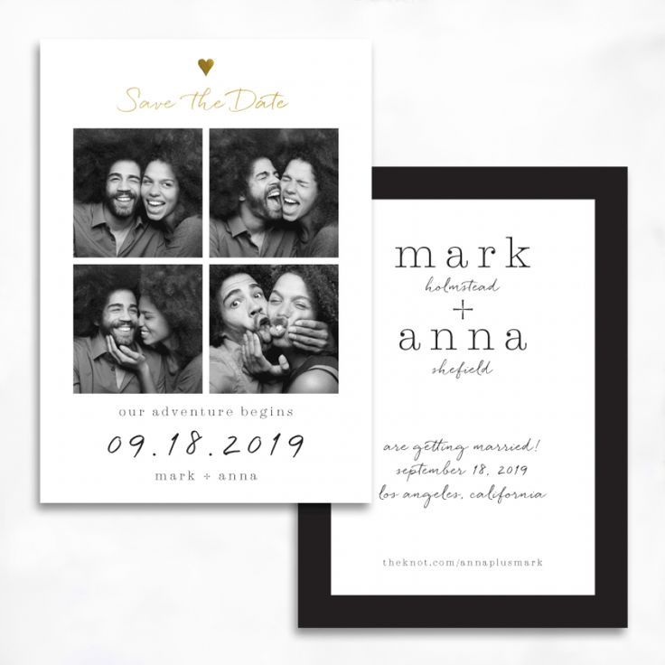 mod photobooth save the date with gold foil