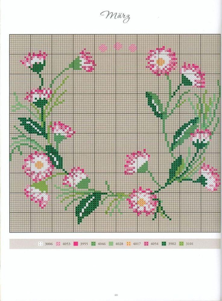Blütenkranz Kreuzstich sticken - cross stitch