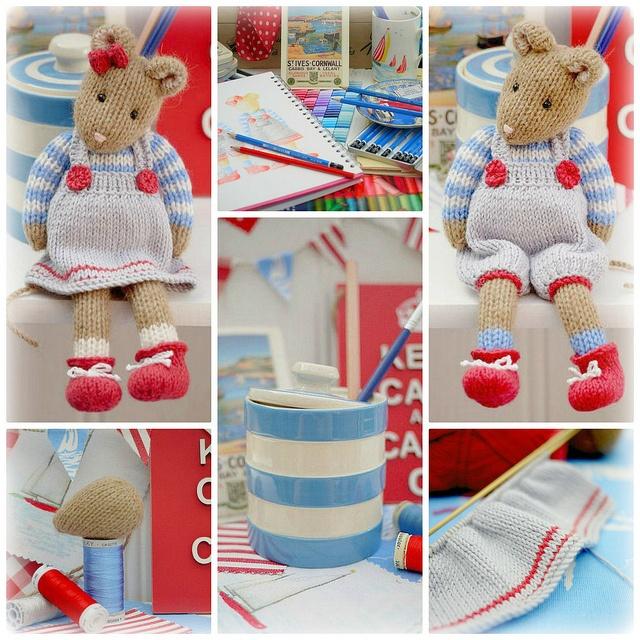 Collage for 'CORNISH Mice' Knitting Pattern...