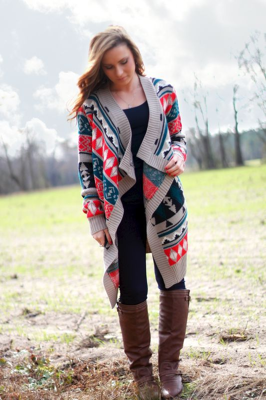 Aztec Cardigan: Taupe and Navy