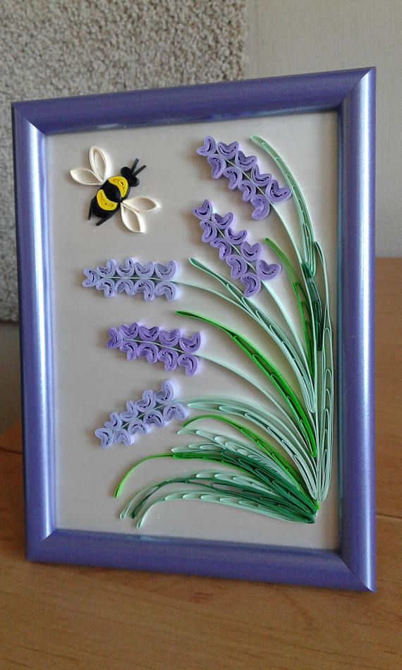 Original Quilling Wall Art handmade in the Provence style. Delicate lavender flowers and bee. This beautiful design can grace any room, lovely gift for any occasion, anniversary, or birthday! The picture is framed into the frame. The size of the picture with frame: 20 X 15 cm (8 X 6 inch).