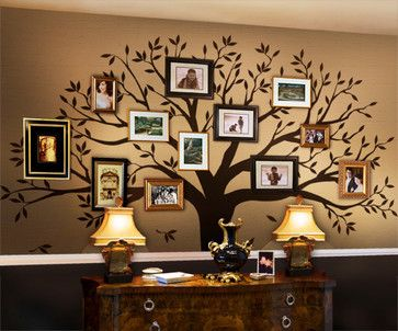 """Family Tree Wall Decal, Chestnut Brown, Standard - 107""""w X 90""""h - transitional - Decals - Simple Shapes"""