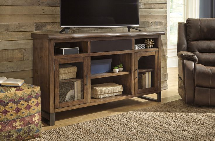 Esmarina Walnut Brown Large TV Stand With Small Integrated Audio Unit